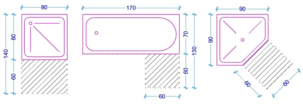Le misure dell 39 uomo nell 39 abitazione il bagno web architetto - Dimensioni minime vasca da bagno ...